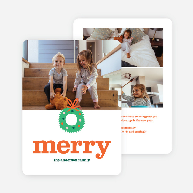 Merrily Stated Multi Photo Holiday Cards - Red