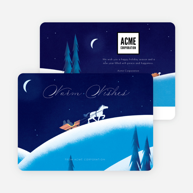 One Horse Sleigh Business and Corporate Holiday Cards - Blue
