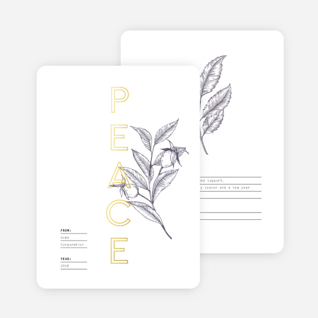 Recipe For Peace Business and Corporate Holiday Cards - Yellow