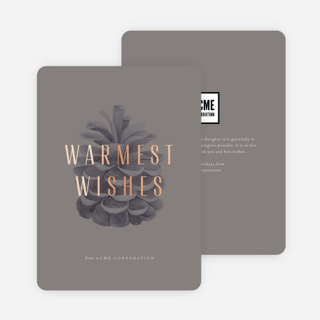 Simple Pine Cone Business and Corporate Holiday Cards - Gray