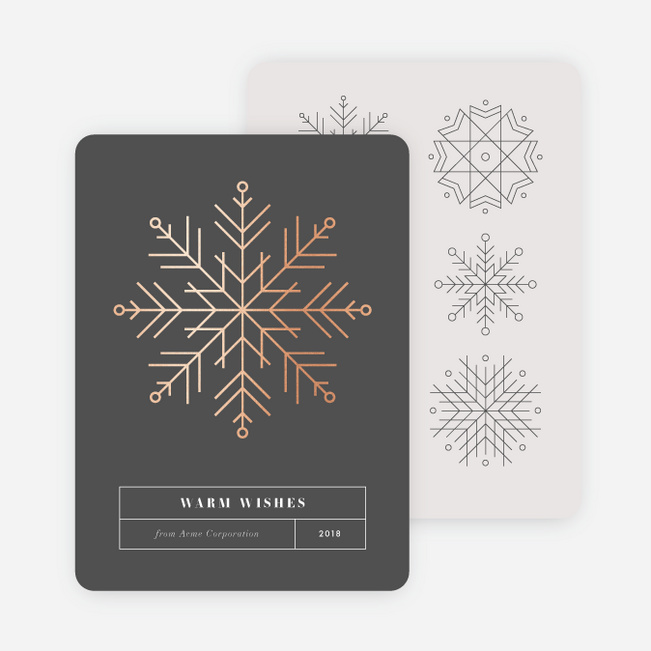 Snowflake Collection Business and Corporate Holiday Cards - Pink
