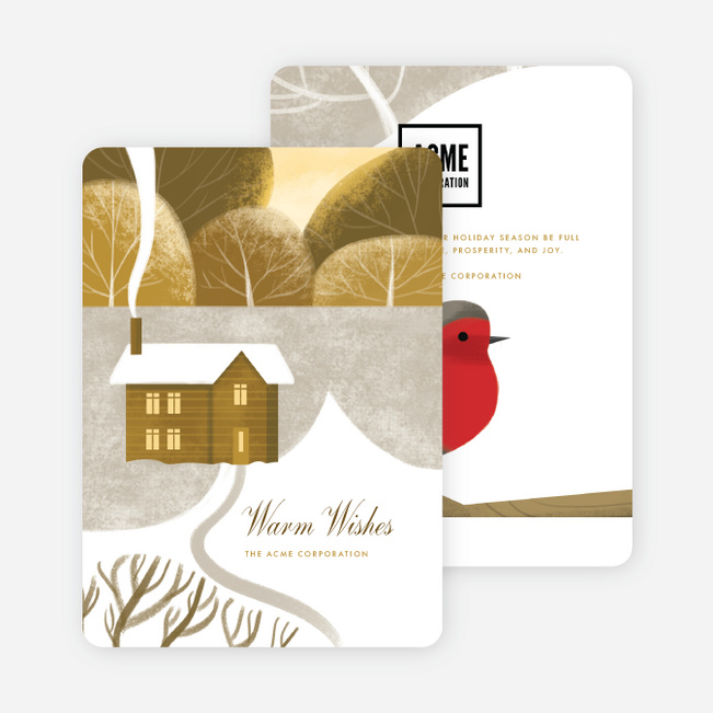Cozy Cabin Business and Corporate Holiday Cards - Yellow