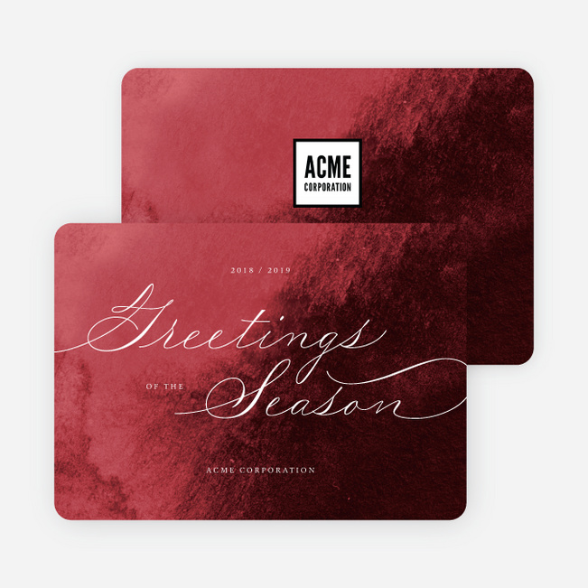 Delicate Script Business and Corporate Holiday Cards - Red