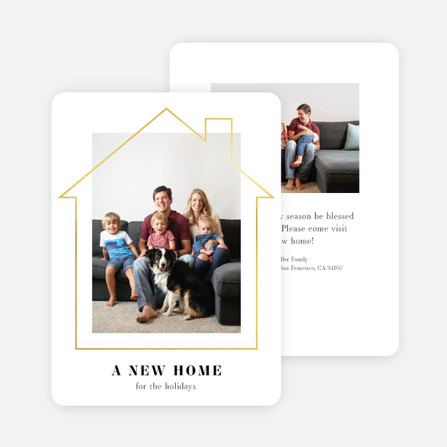 Foil Happy Home Multi Photo Holiday Cards - Yellow