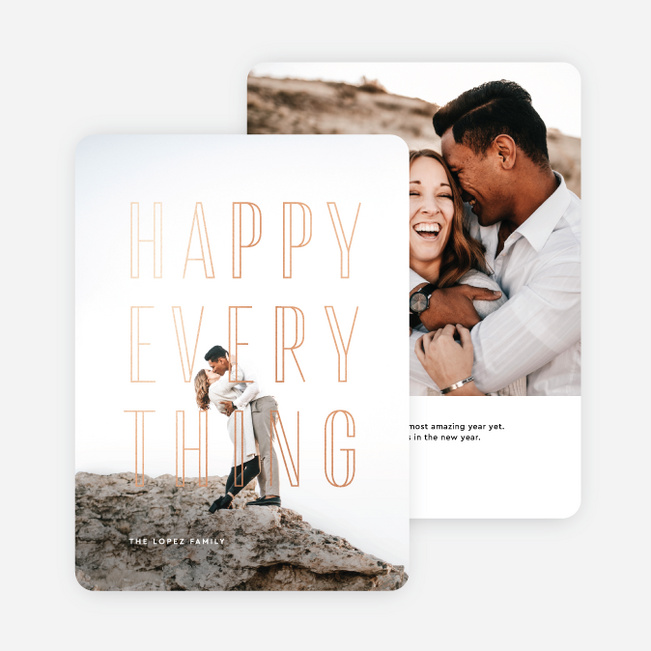 Happy Everything Stacked Multi Photo Holiday Cards - Pink