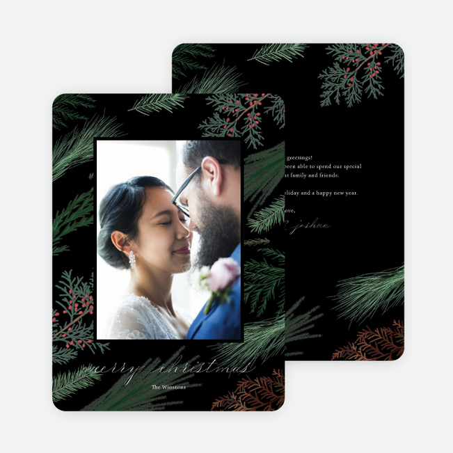 Sweeping Pines Christmas Cards - Black