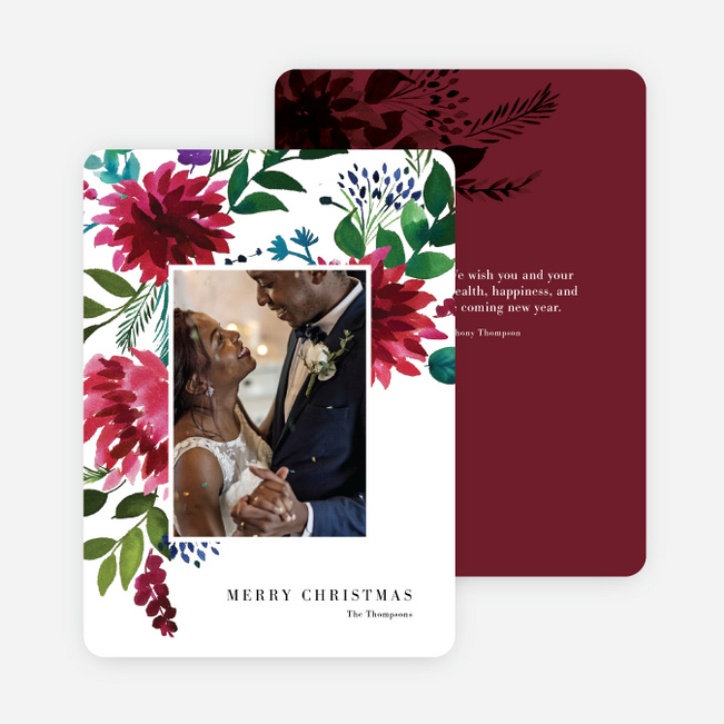 Winter Bloom Christmas Cards - Red