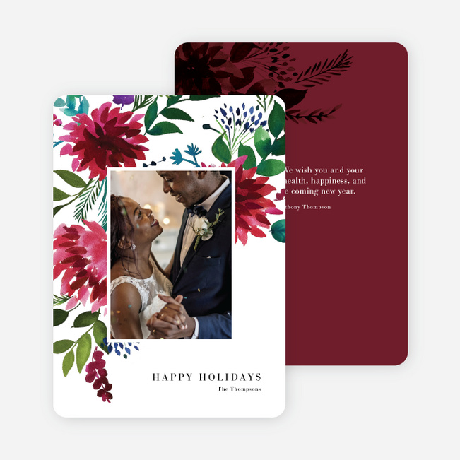 Winter Bloom Christmas Photo Cards & Holiday Photo Cards - Red