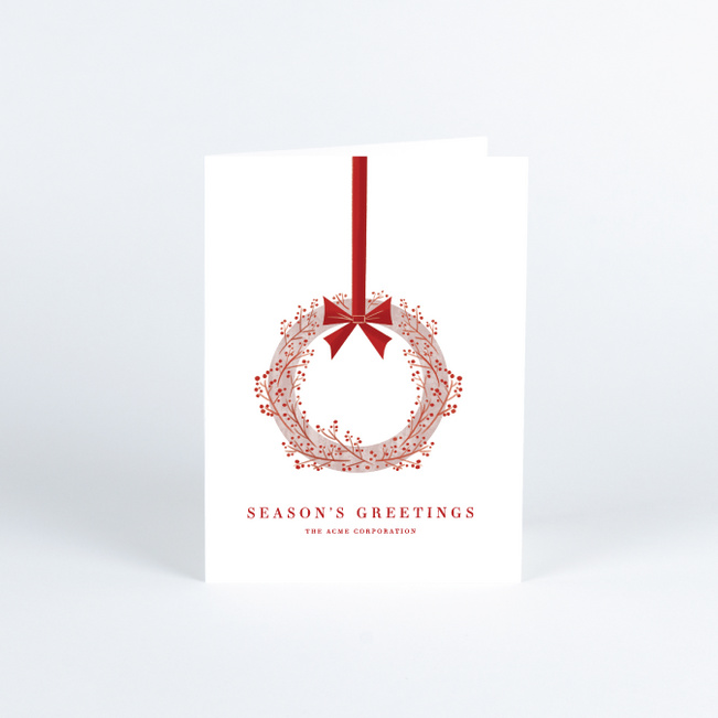 Boughs of Holly Business and Corporate Holiday Cards - Red