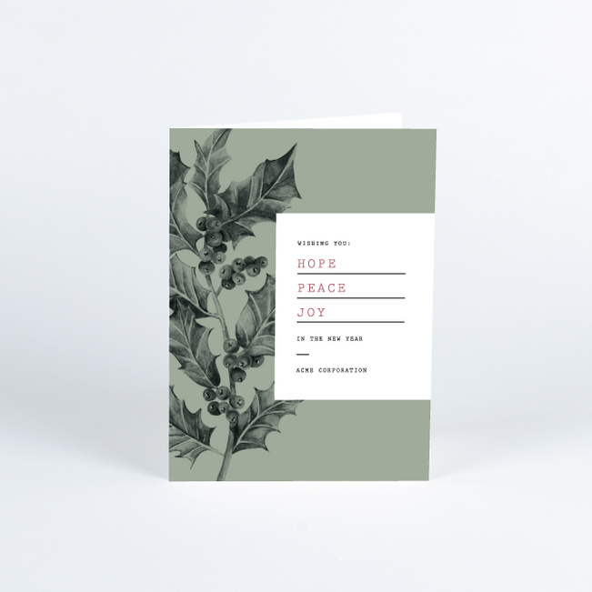 Holly Book Cover Business and Corporate Holiday Cards - Green