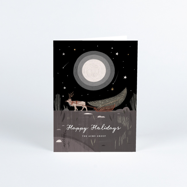 Moonlit Reindeer Business and Corporate Holiday Cards - Multi