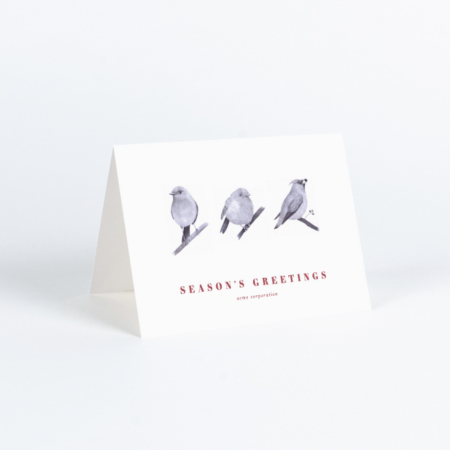 Three Wise Birds Business and Corporate Holiday Cards - Red