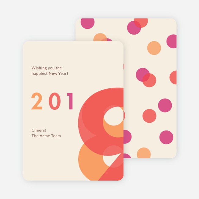 New Year Greetings Holiday Cards - Beige