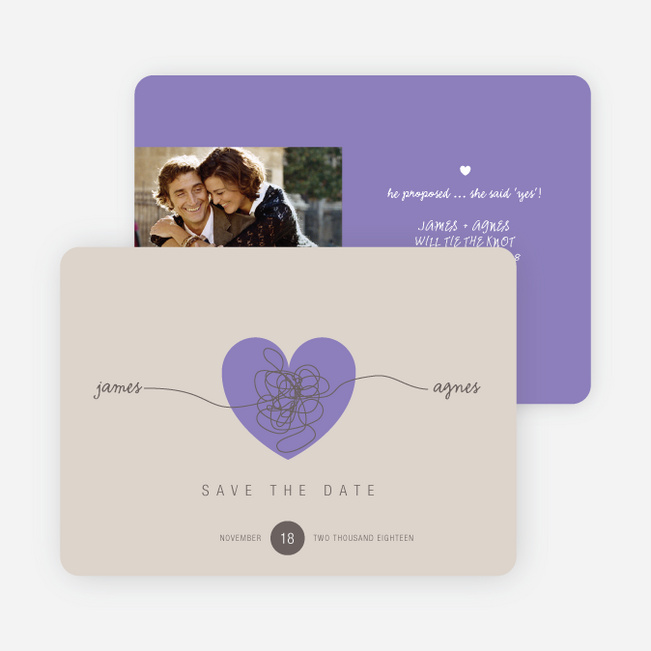 Tying the Knot Save the Date Cards - Purple