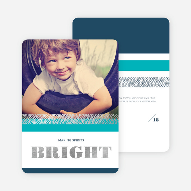 Making Spirits Bright Foil Christmas Card - Blue