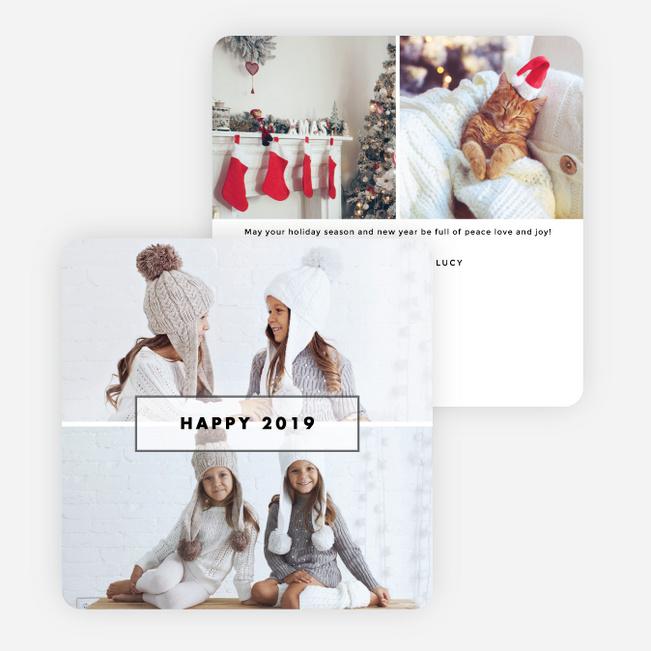 photo border new year cards white
