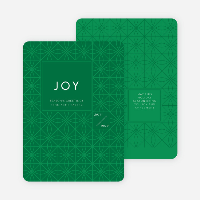Abstract Patterns Corporate Holiday Cards - Green