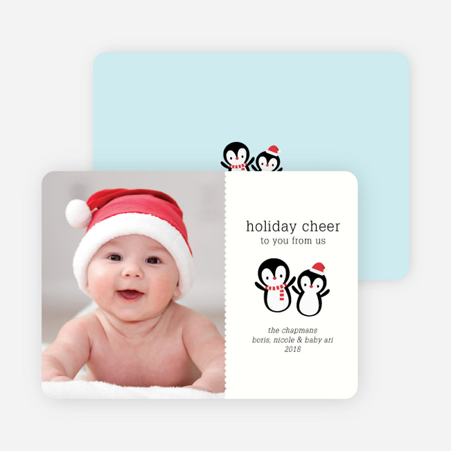Baby Penguins Holiday Photo Cards - Ebony