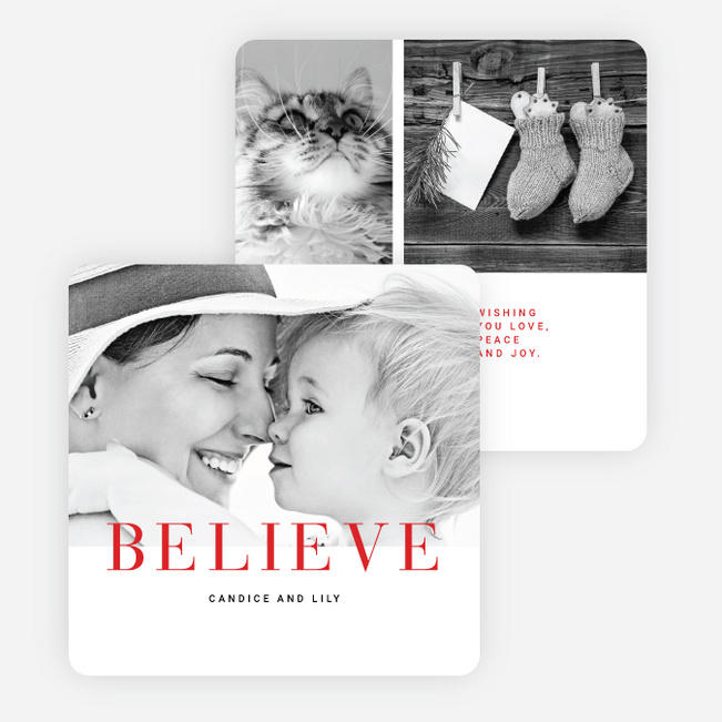Believe Holiday Cards - Red