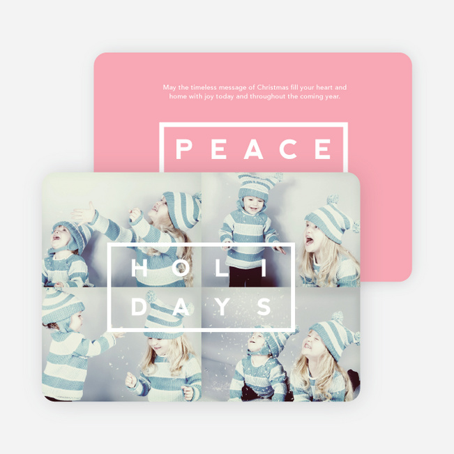 Holiday Block Photo Cards - Pink
