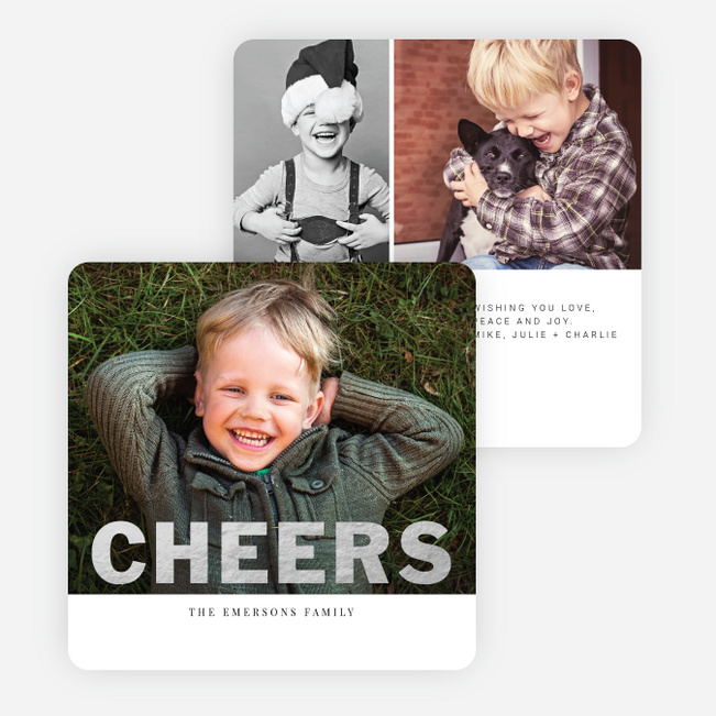 Modern Cheers Foil Holiday Photo Cards - Black