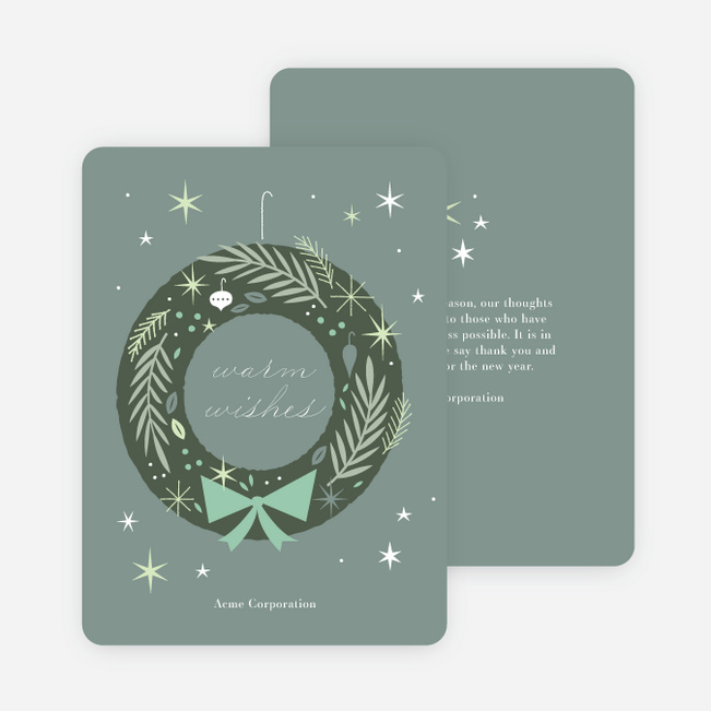 Snazzy Wreath Business and Corporate Holiday Cards - Green