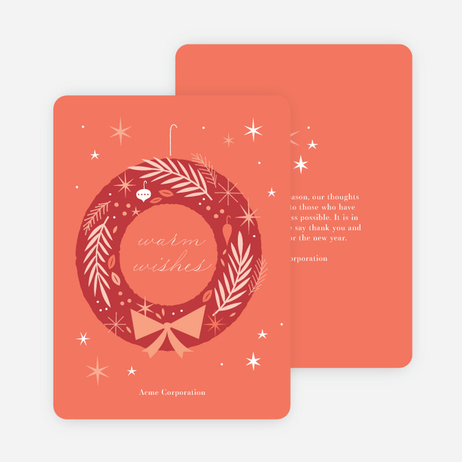snazzy wreath business and corporate holiday cards paper culture