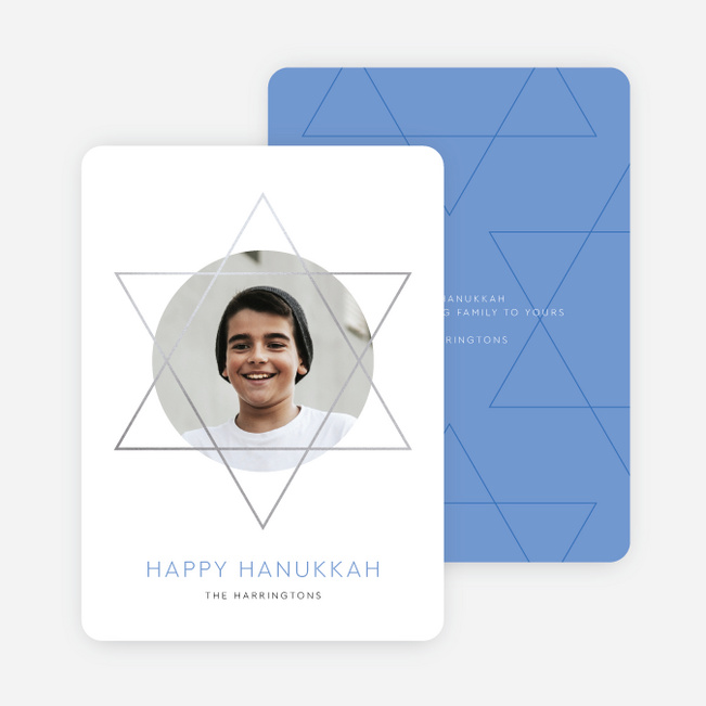Foil Hanukkah Frame Christmas Photo Cards & Holiday Photo Cards - Blue