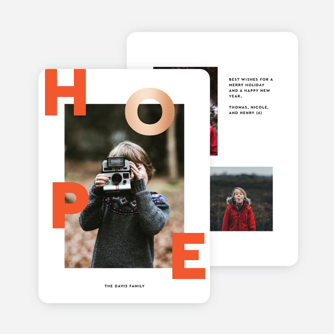 Scattered Hope Multi Photo Holiday Cards - Red