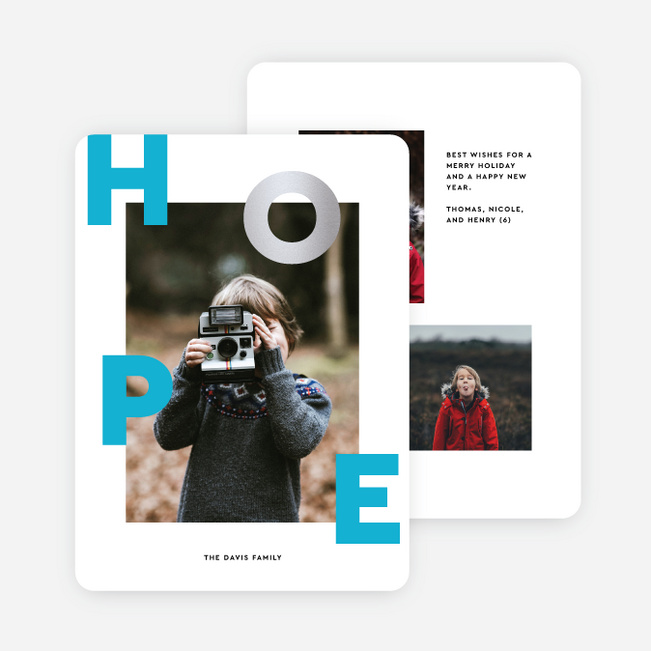 Scattered Hope Multi Photo Holiday Cards - Blue