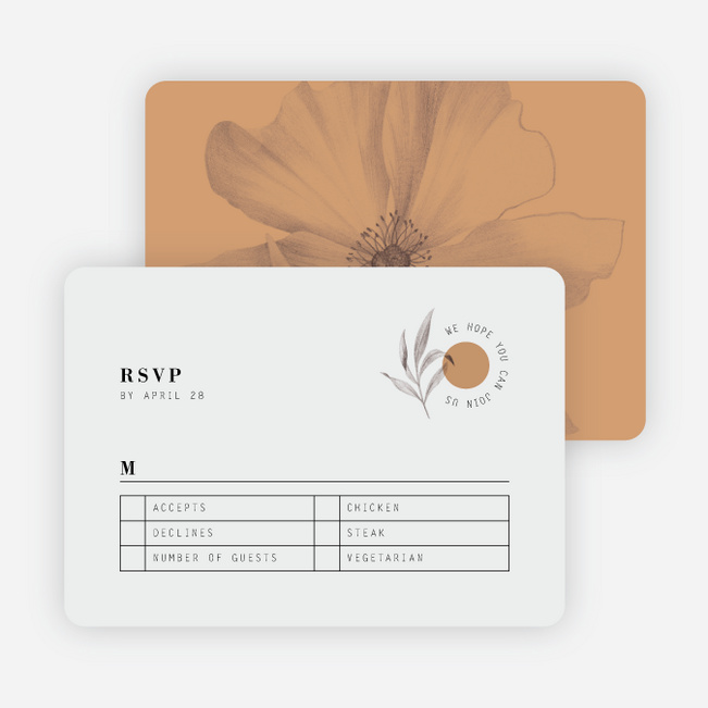 Artistic Flowers Wedding Response Cards - Brown