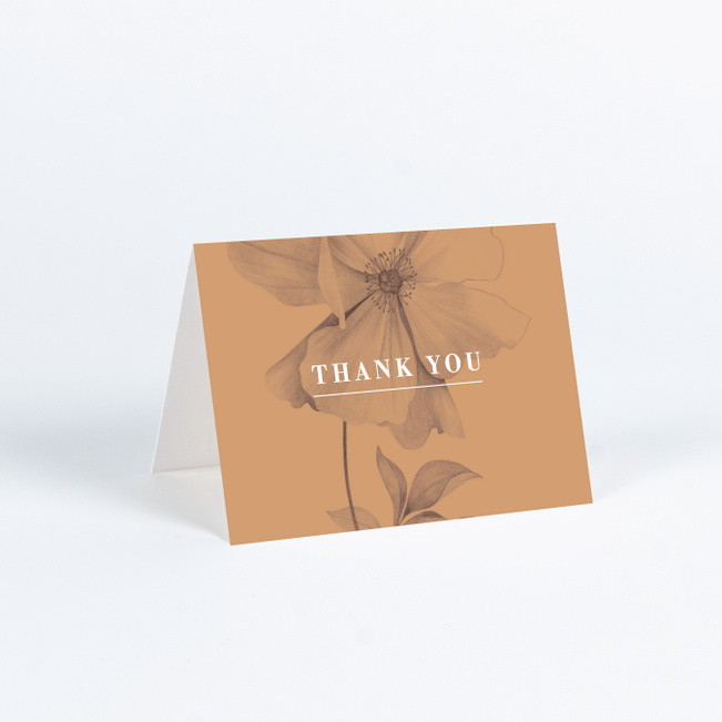 Artistic Flowers Wedding Thank You Cards - Brown
