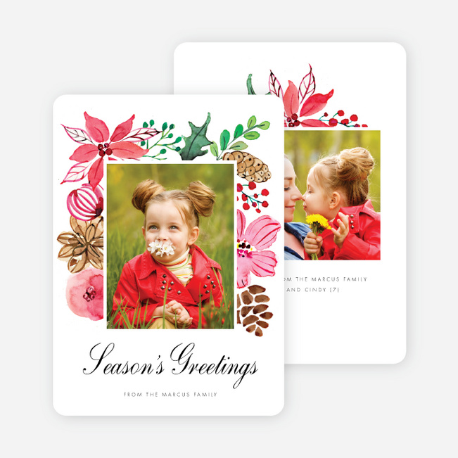 Blooming Frame Holiday Cards - Black