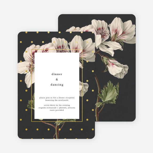 Floral Bliss Wedding Reception Cards - Gray