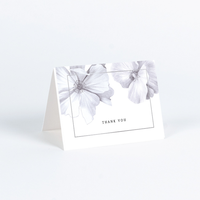 Modern Meets Vintage Wedding Thank You Cards - Gray