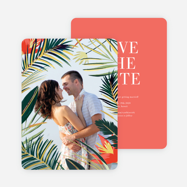 Polynesian Florals Save the Date Cards - Multi