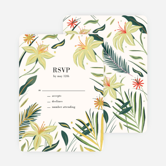 Polynesian Florals Wedding Response Cards - Multi