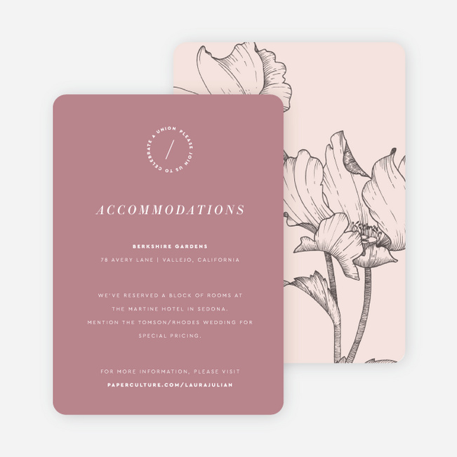 Surprise Flowers Wedding Information Cards - Pink