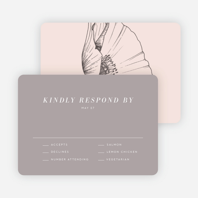 Surprise Flowers Wedding Response Cards - Gray