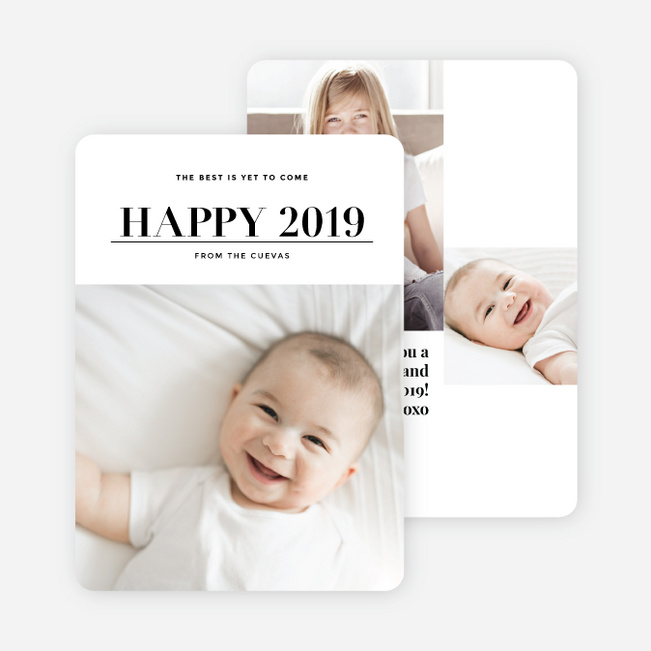 Best is Yet to Come New Year's Photo Cards - Black