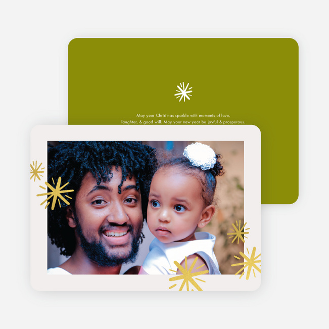 Foil Sparkle Border Holiday Cards - Green