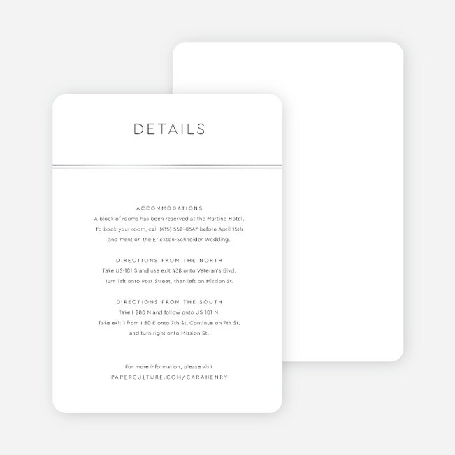Foil You & Me Wedding Wedding Information Cards - Gray