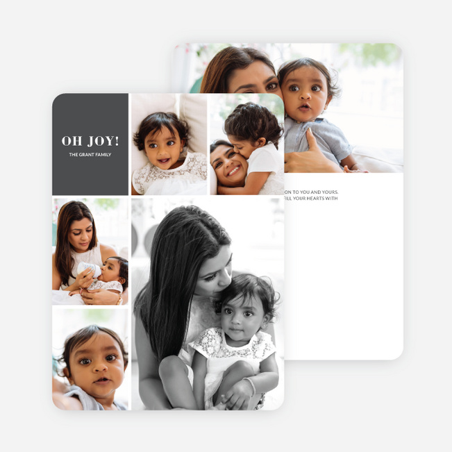 Joy Grid Holiday Cards - Gray