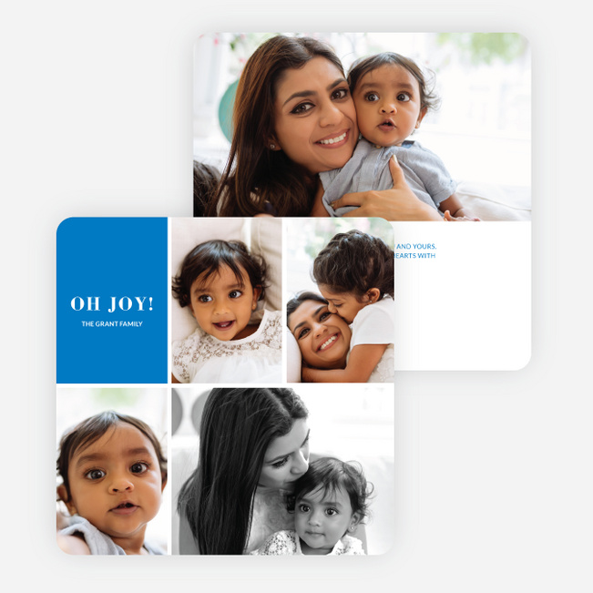 Joy Grid Holiday Cards - Blue