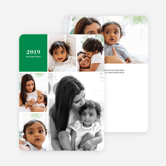 new years card photo collage green