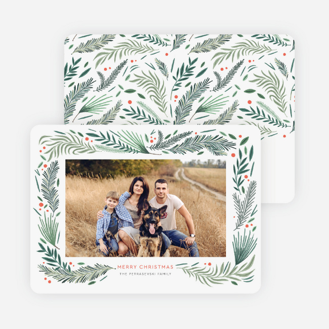 Pine Tree Motif Christmas Cards - Green