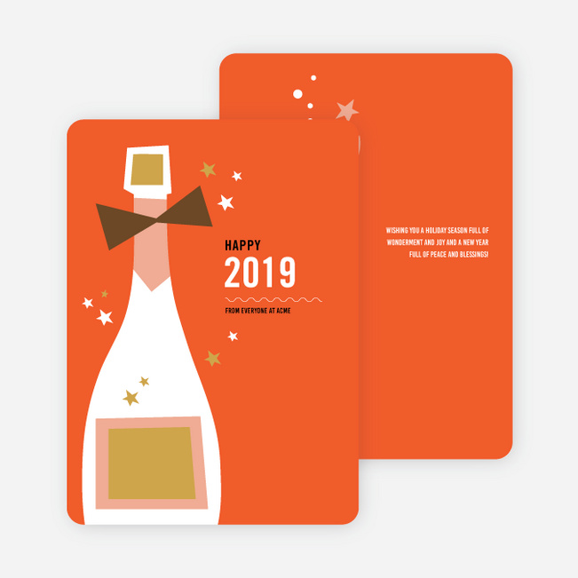 Vintage Champagne New Year Cards - Red