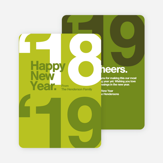 Best Wishes New Year Cards - Green