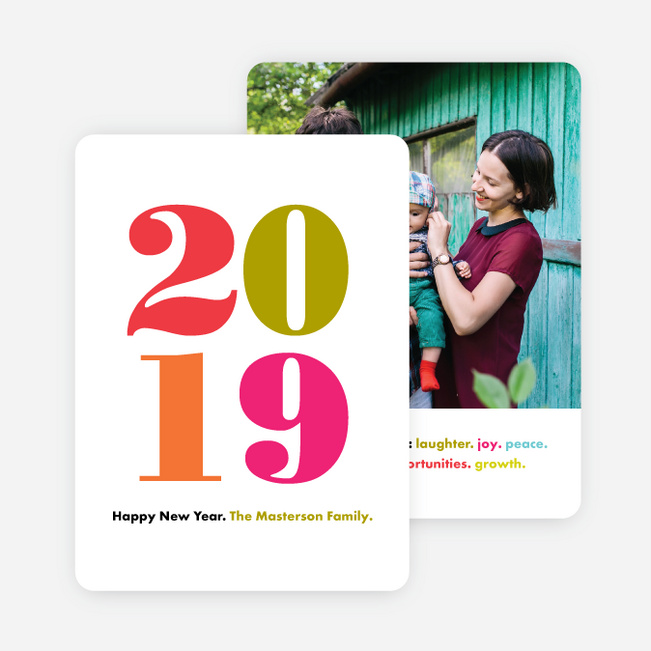 Bright Type New Year Cards - Red