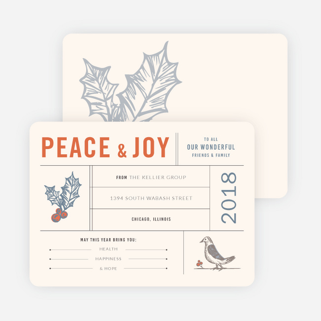 Holly, Peace & Joy Corporate Holiday Cards - Beige